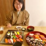 guest with sushi she made