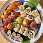 healthy rice sushi of tuna and salmong course