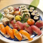 healthy rice sushi of tuna and salmon course