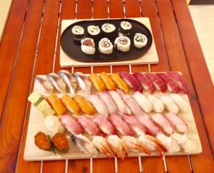 nigiri sushi with maki roll