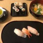 sushi and misosoup and maki and tea