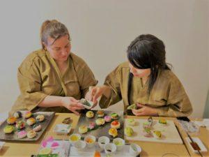 Vegan temari sushi making