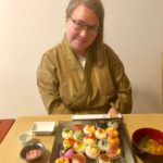 guest with temari sushi she made
