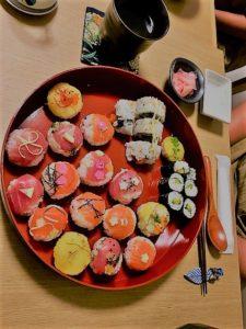 tuna and salmon sushi