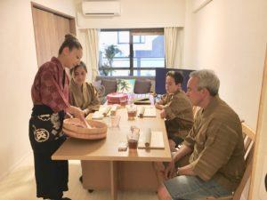 demonstration of making sushi rice
