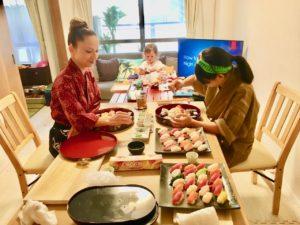 decorating sushi