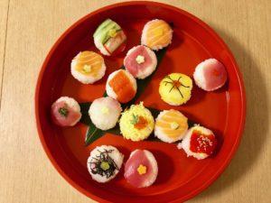 beautiful guest made sushi