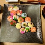 Beautiful temari sushi guests made