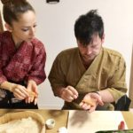 Nigiri sushi (hand shaped sushi)  making