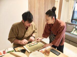 Roll sushi making