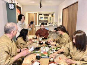 fun talking and making sushi