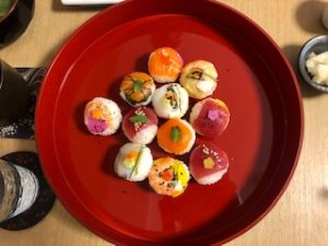 beauriful sushi the guest made