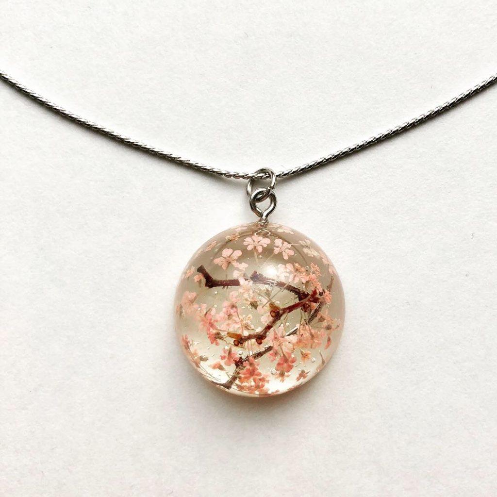 Amazing Sakura cherry flower necklace