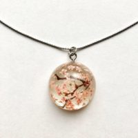 Amazing Sakura cherry flower necklace
