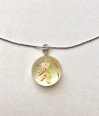 Miniature goldfish 3D dome silver necklace