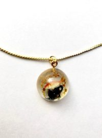 Japanese goldgish 3D dome gold necklace