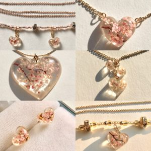 Our heart shaped Sakura cherry flowers jewelry