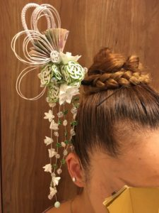 Our handmade Kanzashi hair accessory