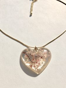 Sakura cherry blossoms heart necklace