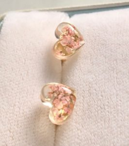 Heart shaped Sakura cherry flowers stud earrings