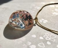 3D Amazing Mt. Fuji and Sakura dome necklace