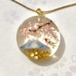 3D Japanese scenery of Mt. Fuji, Sakura, koi fish necklace