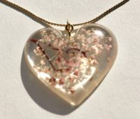 Amazing big heart 3D Sakura cherry blossoms necklace