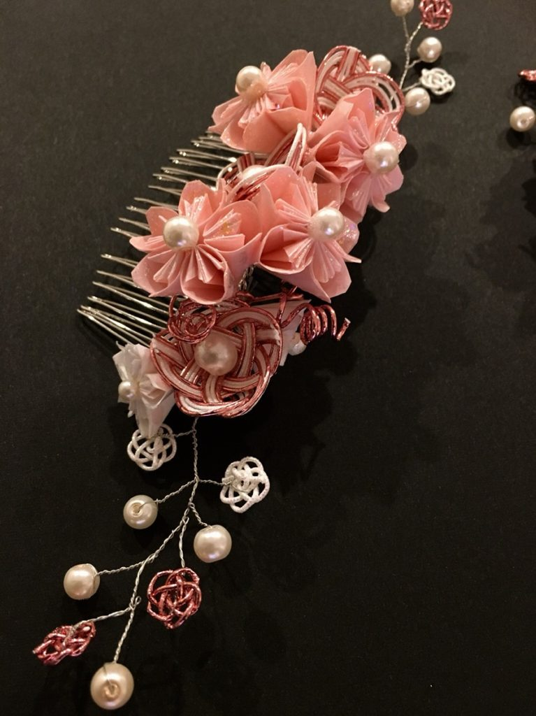 Amazing Sakura cherry blossom Kanzashi hair accessory
