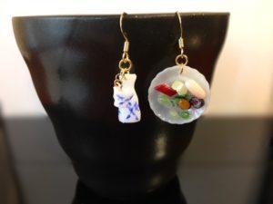 Miniature Japanese food sushi with sake dangling earrings