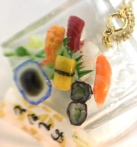 miniature 3D sushi necklace