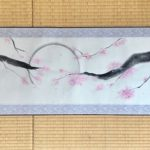 Japanese painting calligraphy art hanging scroll Kakejiku wall decor landscape Sakura cherry blossom in full moon night