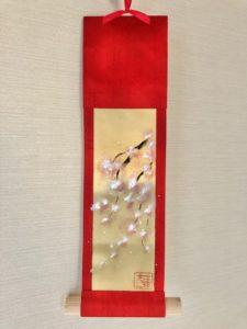 Small Kimono kakejiku hanging scroll ZEN Japanese painting Sakura cherry blossoms