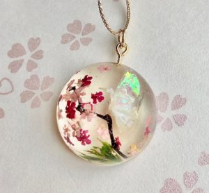 Crystal dome Japanese good luck crane bird ORIZURU, Sakura cherry blossom, pine tree necklace