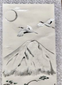 Japanese painting calligraphy art hanging scroll Kakejiku wall decor crane birds, Mt.Fuji, Japanese pine tree