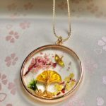 Japanese special good luck necklace -crane bird ORIZURU, Sensu, Sakura, pinetree