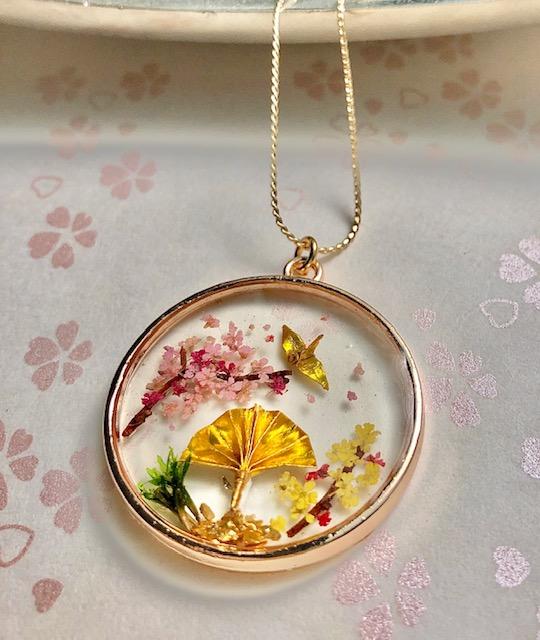Japanese special good luck necklace -crane bird ORIZURU, Sensu, Sakura, pinetree