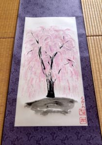 Japanese painting calligraphy art hanging scroll Kakejiku wall decor ZEN style SHIDARE Sakura