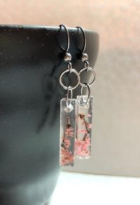 Japanese style Sakura cherry blossoms crystal stick earrings