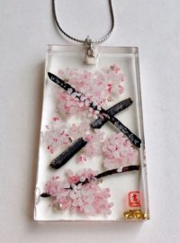 3D painting ZEN style Sakura cherry blossoms necklace