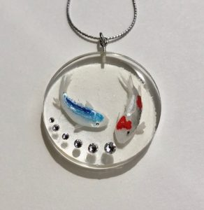 3D painting Koi fish necklace