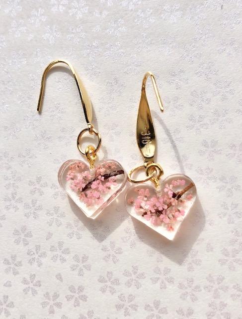 Crystal heart 3D Sakura cherry blossoms earrings