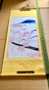 Japanese style Sakura with Mt.Fuji painting hanging scroll