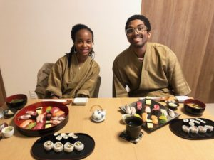 beautiful sushi with guests!