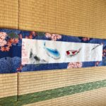 Japanese Kimono fabric Koi fish with Sakura painting wall decor