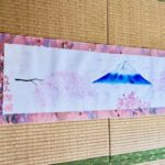 Kimono silk Mt. Fuji with Sakura cherry blossom large Kakejiku wall decoration
