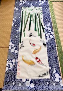 Japanese Kimono fabric Koi fish with Bamboo painting large wall decor