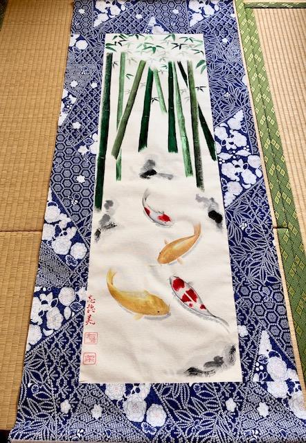 Japanese Kimono fabric Koi fish with Bamboo painting large wall decor