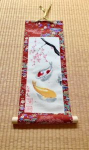 Japanese Kimono fabric Koi fish and Sakura painting wall decor