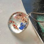 Japanese stye crystal glass dome Koi fish and Sakura necklace