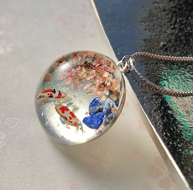 Japanese stye crystal glass dome Koi fish and Sakura necklace
